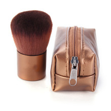 1Pcs Makeup Brush Brown Mini PU Leather Bag Case Aluminum Handle Fiber Bristles Brown Face Powder Blush Brushes Beauty Tools