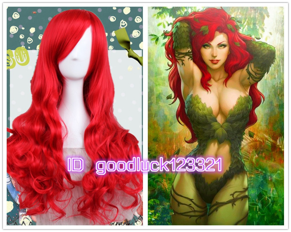 Free Shipping BATMAN Poison Ivy Long Wavy Red Anime Cosplay Hair Wig +a wig cap(China (Mainland))