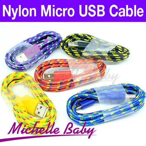 Braided Wire Micro USB Cable 1M 3ft Sync Nylon Woven V8 Charger Cords For Samsung Galaxy S3 S4 I9500 Blackberry.Free Shipping(China (Mainland))