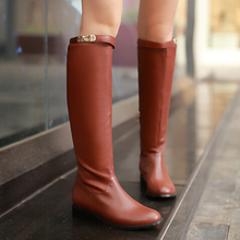 Buy Plus Size 34-39 Women Boots Big Winter Fashion Thicken Fur Lady Shoes Sexy Knee High Boot Thick Heel Buckle Classics Long Boots for $43.97 in AliExpress store