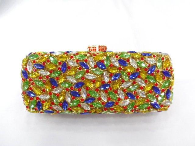269B Crystal Flower Floral Bridal Party hollow Metal Evening purse clutch bag handbag