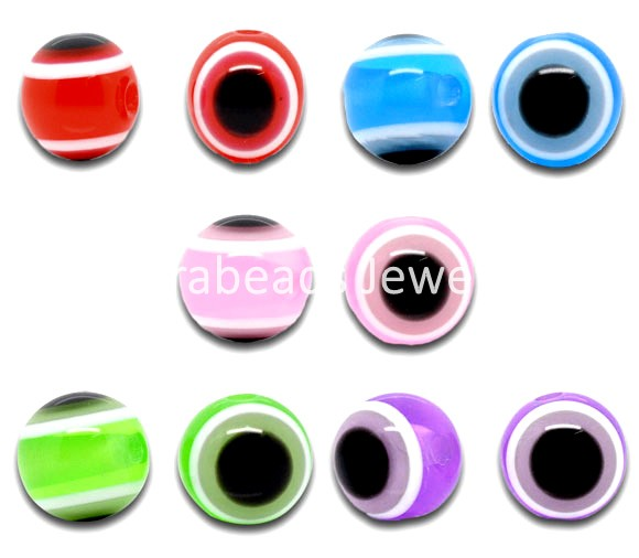 Free Shipping! 100 Mixed Multicolor Evil Eye Stripe Round Resin Beads (B10124)(China (Mainland))