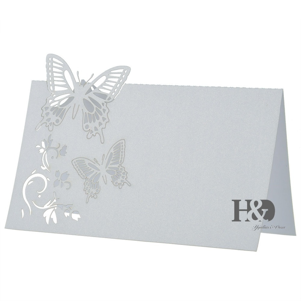 White Paper Laser Cut Butterfly 120pcs Souvenirs Invitations Wedding Seats Card Table Card for Wedding Favors Decoration(China (Mainland))