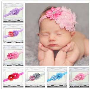 Free shipping Retail Newborn Kids satin flower headband Newborn Kids girls hairband girl's Felt Flower headbands A075(China (Mainland))