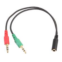 Centechia 15 سنتيمتر 3.5 مللي متر ستيريو الصوت 1 F إلى 2 متر مقسم سماعة الأذن الصوت تمديد الحبل ميكروفون سماعة الرأس محول(China)