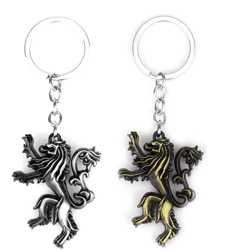 Game of Thrones keychain House Lannister Hear Me Roar Lion 3D key ring holder Men Jewelry 2 Colors Accesssory gift(China (Mainland))