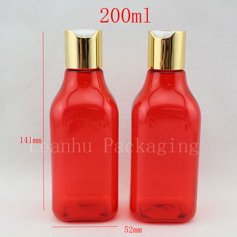 200ml empty red lotion cosmetic bottle container with gold cap, DIY square PET bottles with aluminum lid, cosmetic packaging(China (Mainland))