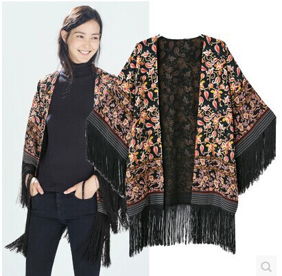shrug 2015 in the fall of the new European ZA printing tassel kimono cardigan coat's tops restoring ancient ways basic jackets(China (Mainland))