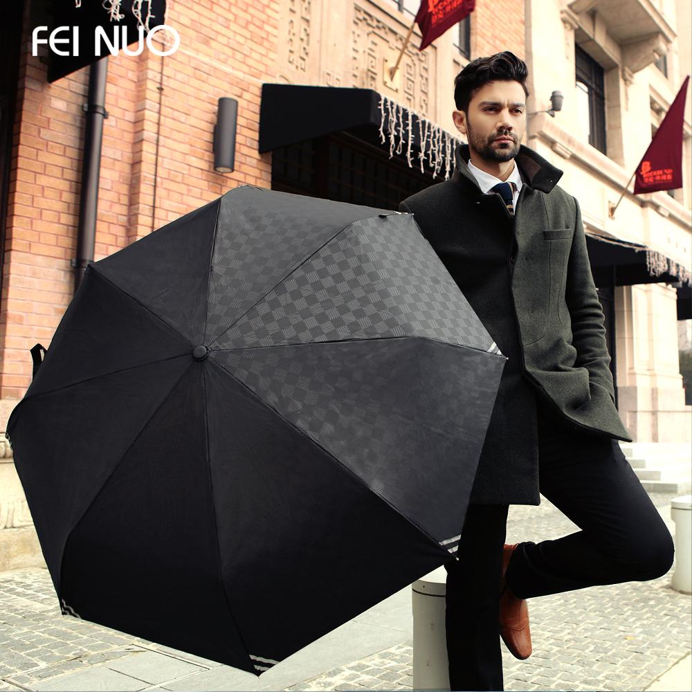 High Quality Commercial Embossed Automatic Umbrellas Male Umbrella Folding Umbrella Men Personality 3 Folded Umbrella (Black)(China (Mainland))