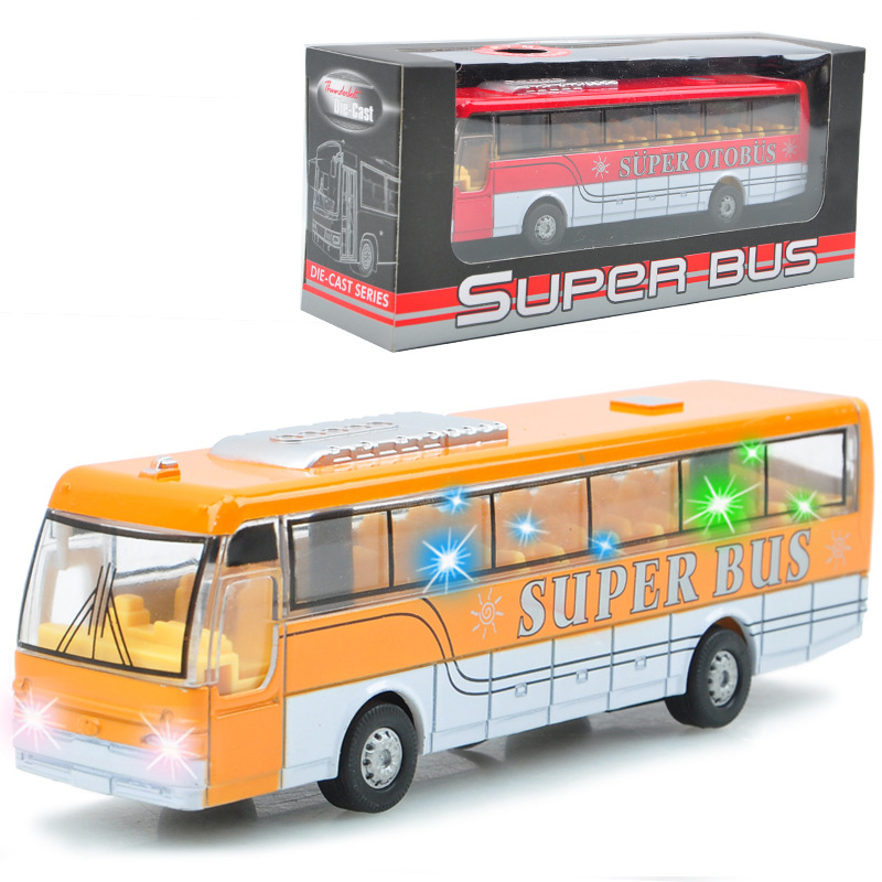 Music and light car toys Alloy Diecast car model Pull Back Public Bus school bus toys Car vehicles kids boy toys brinquedos(China (Mainland))