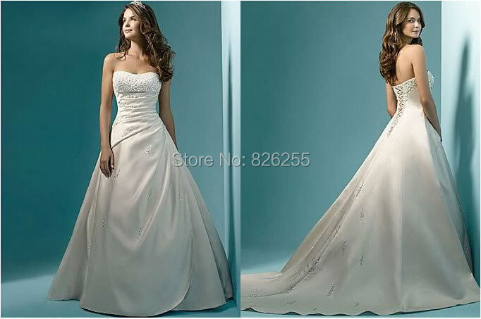 Love Story 2015 Elegant Popular Strapless Satin Wedding Dresses/Bridal Gowns with Beading NW0205 Free Shipping Custom Made(China (Mainland))