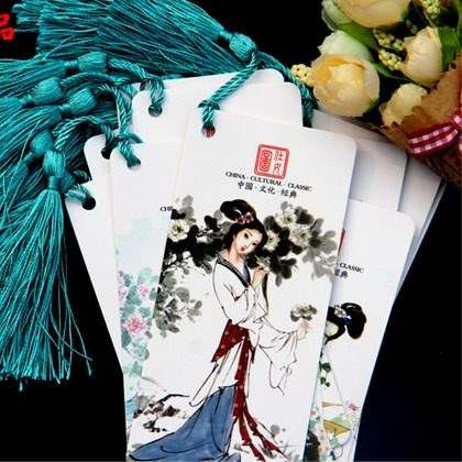 12pcs/lot Traditional Chinese Painting Of Beautiful Women Pattern Bookmark Students Teacher Crafts New Year Birthday Gift Wz(China (Mainland))