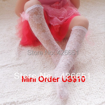 baby girl lace printing flower knee high stockings bowknot White/Pink Mini order US$10 - 4U Girl store
