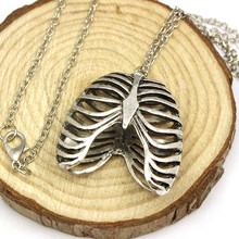 Suspension Pendants Long Necklace Anatomy Statement Necklace Collares Populare Vintage Jewelry Colares Rib Cage Pendant Skeleton