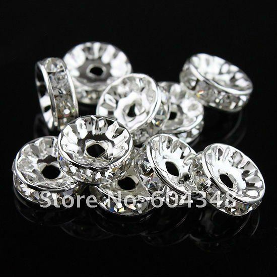 10MM / 12MM Clear Crystal Spacer Round Beads, Silver Plated Rondelle Rhinestone Spacer Beads Jewelry Findings 100PCS