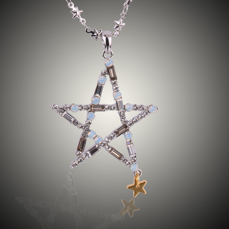 2015 New Women Double Pentacle Stars Platinum Gold Plated Light Grey Opal Genuine Austrian Crysta Pendant Necklace(China (Mainland))