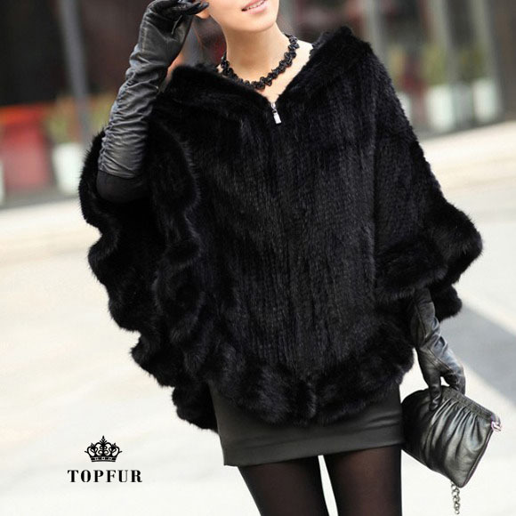Genuine Mink Fur Shawl Poncho Scarf With Hoody Women knitted mink fur coat winter fur jacket Free shipping TF0138(China (Mainland))