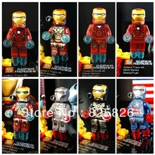 8pcs/lot Super Heroes Avengers Iron Man Hulk Batman Wolverine Thor Building Blocks Sets Minifigure DIY Toys