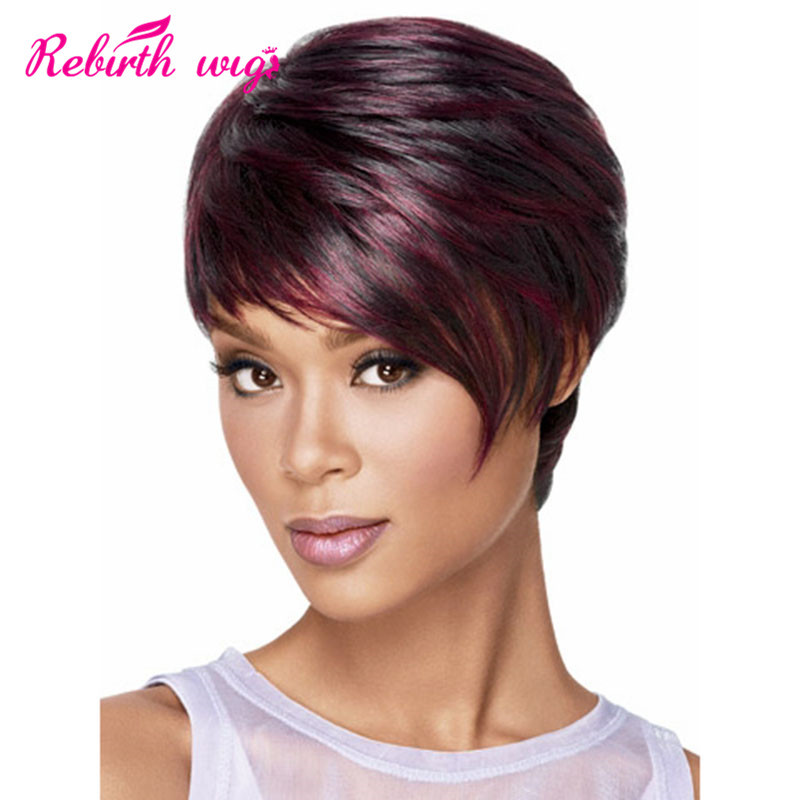 African american short wigs Synthetic Hair short burgundy wigs for ...