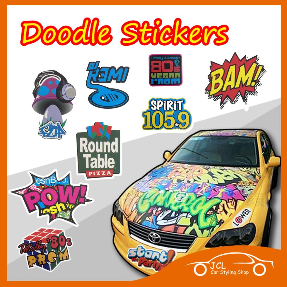 Free shipping car styling waterproof doodle stickers motorcycle bike notebook travel case decal car accessories car sticker(China (Mainland))