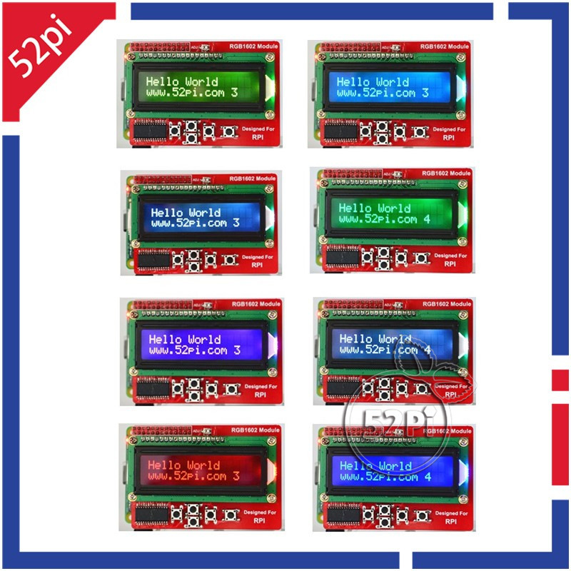 New Raspberry Pi RGB 1602 16x2 LCD Keypad Shield LCD Display Module with I2C(China (Mainland))