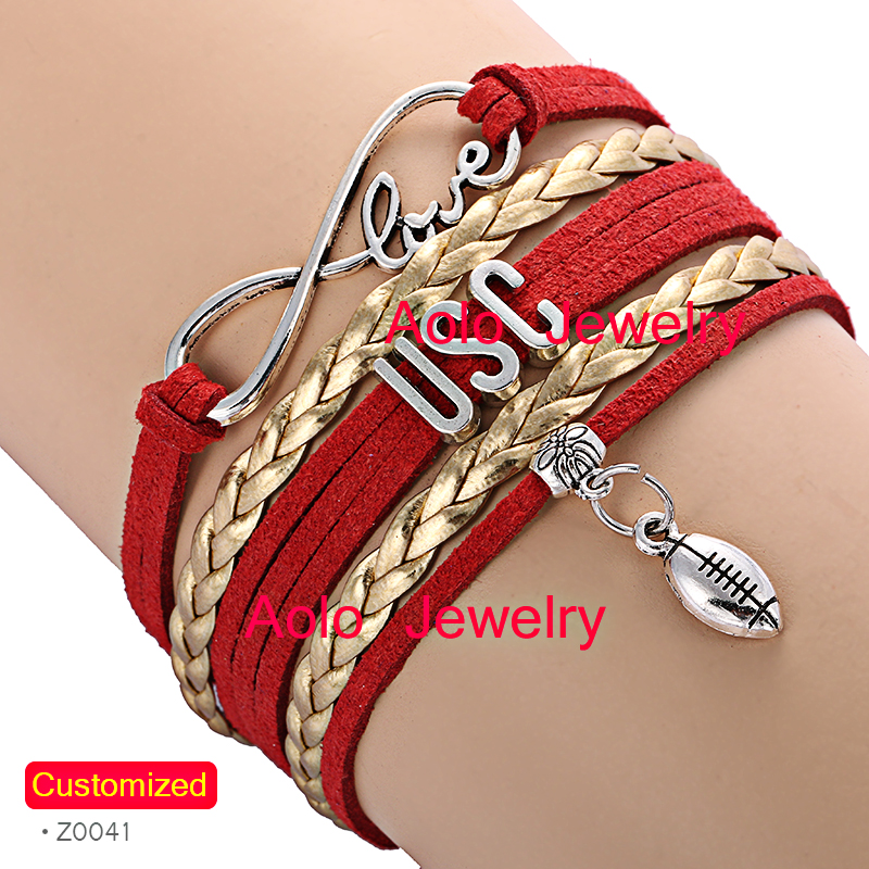 6Pcs/Lot USC Football Infinity Bracelet RED/GOLD Make Your Own Design Free Shipping(China (Mainland))