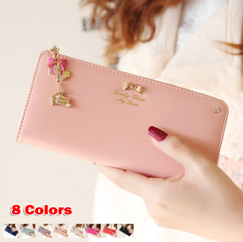 Hot Sale High Quality Colorful bowknot pendant PU Leather Long Design Women Wallet Coin Purse Ladies Handbag Day Clutch Bag(China (Mainland))