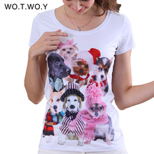 2016 Cute Dogs 3D Printed T-shirts Women Casual Graphic Tee Kawaii French Bulldogs Printed T Shirt For Women Animal Diamonds
