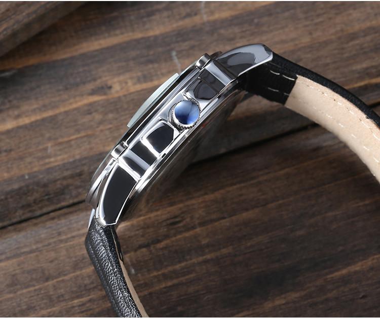 Юлий Homme мужские наручные часы кварцевых часов топ мода ретро платье браслет кожаный именинник авто дата подарок 079