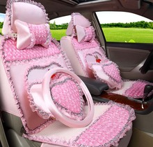 Lovely girls lace style car seat cover cushion 5 pieces / set 2016 auto supply female cartoon lace style car seat covers(China (Mainland))