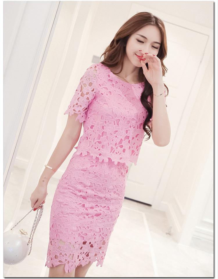 Women Lace Set  O Neck Crop Tops And Skirt Hollow Out Female Suit White Blue Pink 2 Pieces (3)