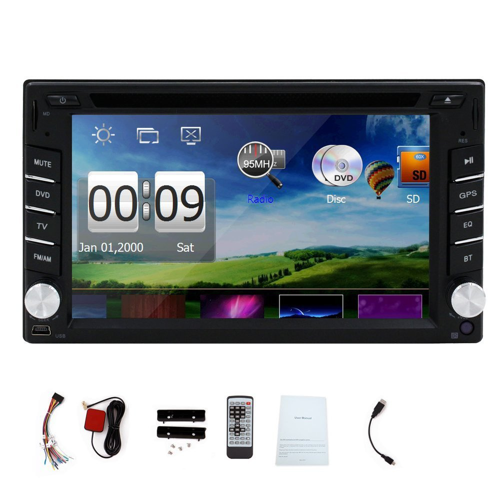PUPUG 6.2 inch 2Din In Dash HD Touch Screen Car DVD Player FM/AM Radio GPS Navigation Bluetooth Audio Stereo with 8GB Map Card(China (Mainland))