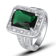 Wholesale Opanhanded 182R17 Emerald Quartz White Topaz 925  Silver Ring Size 7 8 9 10 Free shipping