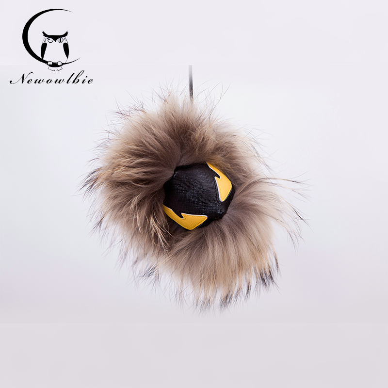 Real Raccoon fur monster doll car key chain Karlito bag charm Trendy Fur charm plush bag pendant car keychains Creative doll(China (Mainland))
