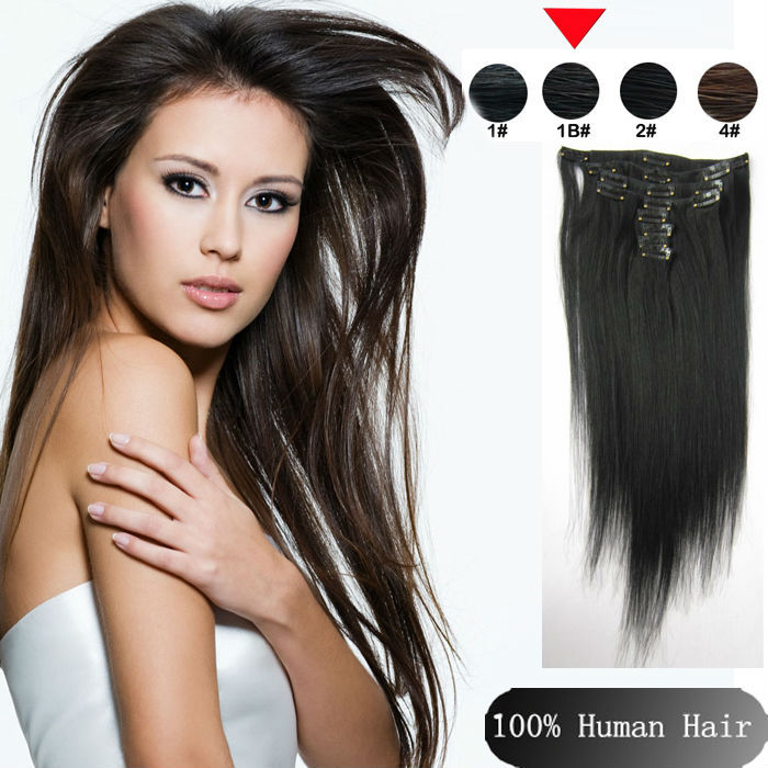 Brazilian  Human Hair Extensions ,Clip in Hair 9pcs/set 15 18 20 22 24 Remy Queen 1B# Off Black Straight  Best Quality <br><br>Aliexpress