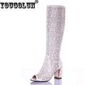 YOUGOLUN Women Summer Knee High Boots Hollow Crystal Thick Heel 7 5cm Peep toe H 273