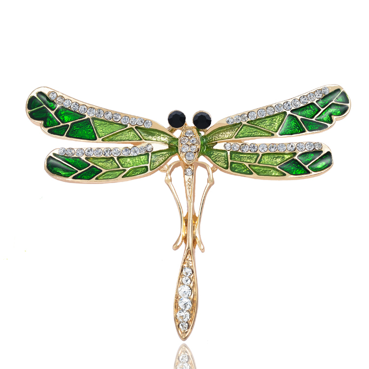 Alloy Green Crystal brooch Rhinestone animal dragonfly Brooches Pins Metal Insect Strass Brooche Cute Rhinestone Brooches X1136(China (Mainland))