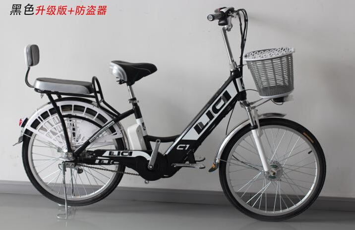 electric bicycle 24 inch battery car battery two seat family vichel bike black blue green red
