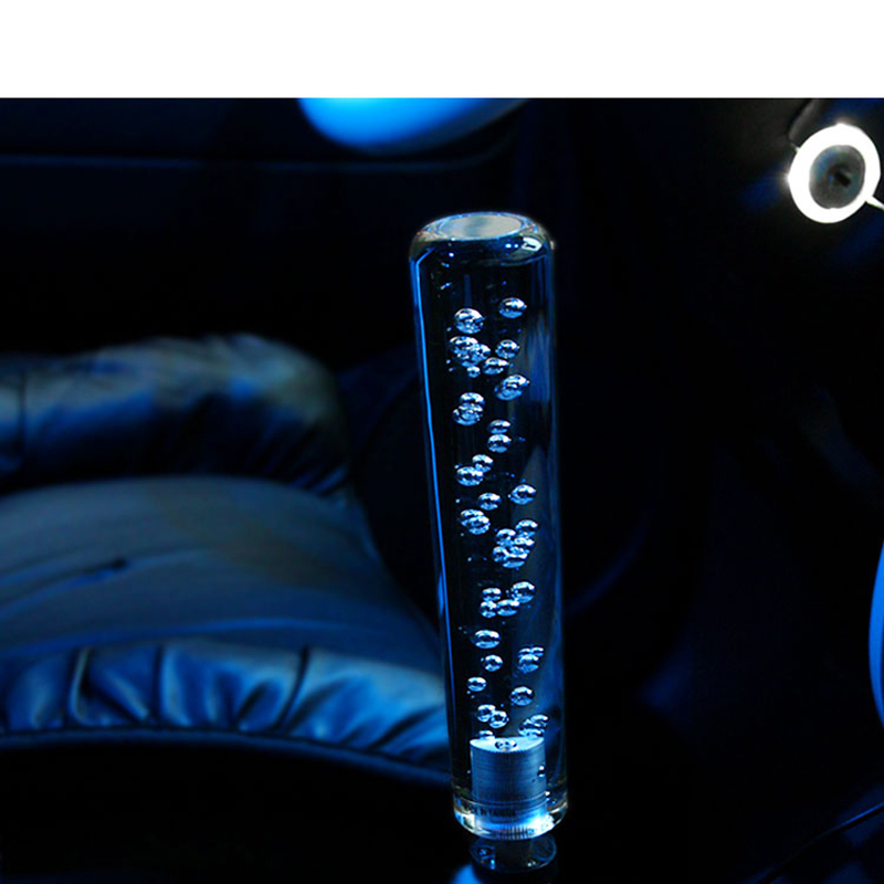 Car styling 15CM long Acylic LED Light Clear Crystal Bubble Gear Shift Knob Manual Shifter Stick Transparent,car accessories(China (Mainland))