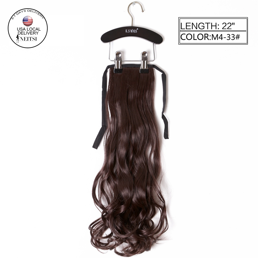 """Neitsi 1PC 22"""" Synthetic Curly Hair Ponytails Hairpieces Wavy Clip In On Pony Tail Hair Extensions M4/33# Thick Soft Hair Weaves(China (Mainland))"""