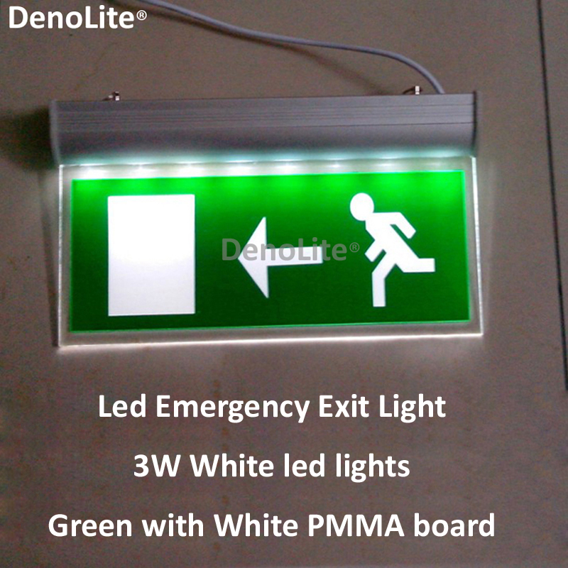 3.6V battery 3hours duration time 3W White LED Emergency Light Fire Exit Sign Green Board Hanging Exit lighting Free Shipping(China (Mainland))