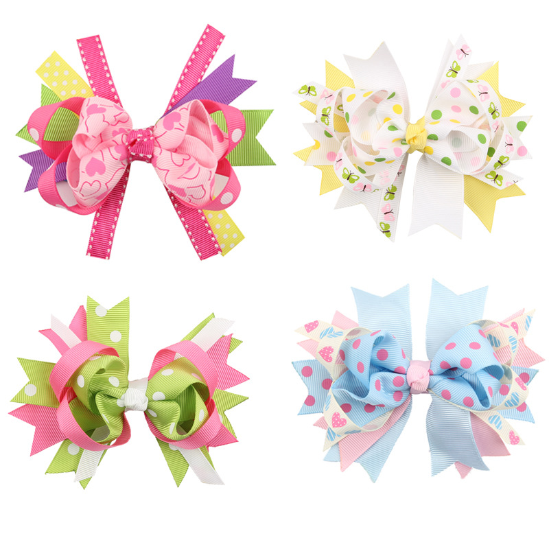 New Arrival Children's Hair Accessories Kids Headdress Hairpin Colorful Swallowtail Butterfly Bow Hairpin Jewelry 6 colors(China (Mainland))