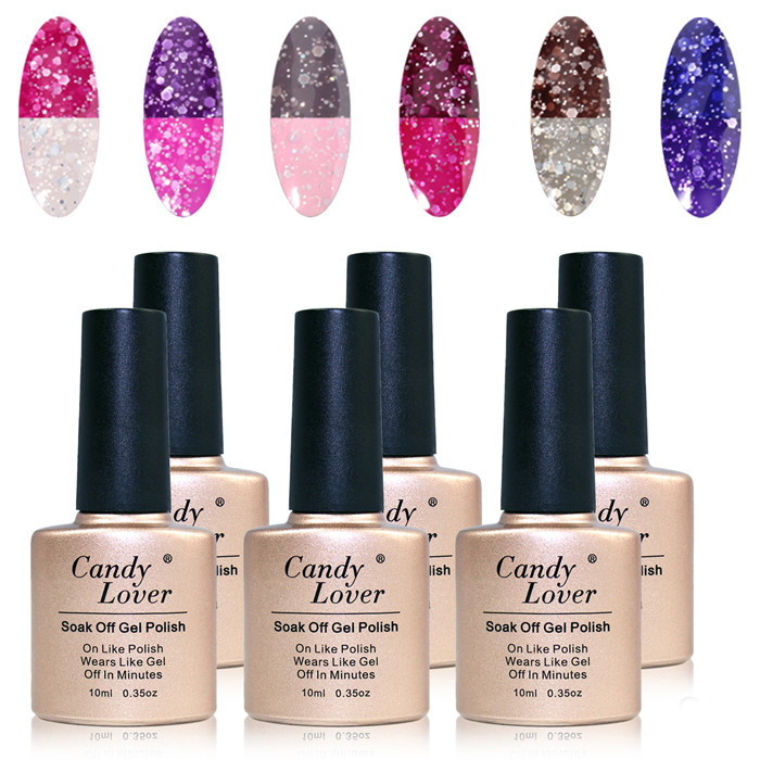Candy Lover Temperature /Mood Color Changing Lacquer Nail Gel Polish Sparkle & Shine 10ml Wholesale 6pcs/lot Best on Aliexpress(China (Mainland))