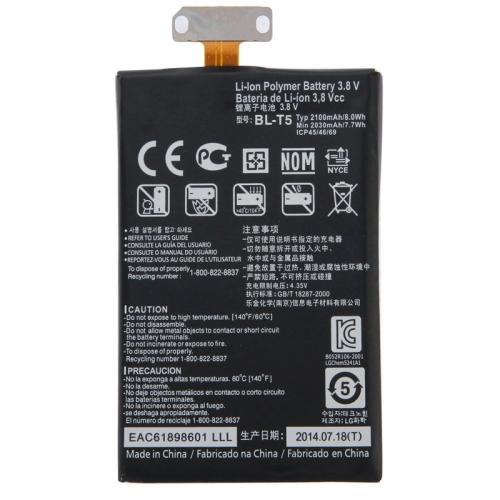 Newest Mobile Phone Battery BL-T5 2100mAh Li-ion Polymer Battery Fit Flex Cable for LG Nexus 4 E960 / E975 / E973 / E970 / F180