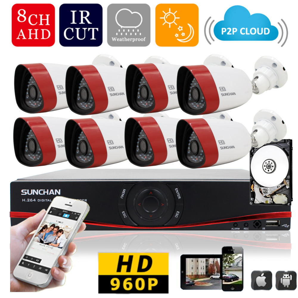 SUNCHAN  HD 8CH CCTV system 1.3MP 720P Real time Surveillance AHD DVR KIT 8PCS outdoor 1500TVL Security Camera System 1TB HD