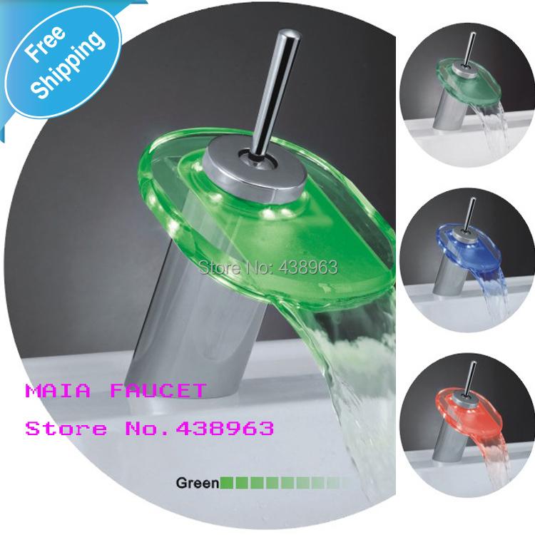 LED LIGHT Ellipse Glass Waterfall Bathroom Basin FAUCET chrome polished mixer vanity - Maia Sanitary store