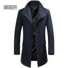 Мужские кашемировое пальто на зиму, повседневные мужские шерстяные тренчи, двойные хлопчатобумажные куртки, теплые карманы, верхняя одежда...(China)