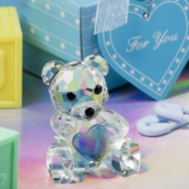 FREE SHIPPING+Baby Shower Favors Choice Crystal Collection Teddy Bear Figurines -Blue For Baby Boy Baptism Gift(China (Mainland))