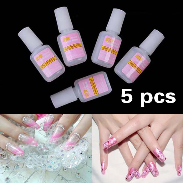 5 x 10g Nail Art Glue Tips Glitter UV Acrylic Rhinestones Decoration With Brush Nail Polish Glue Acrylic Glue(China (Mainland))
