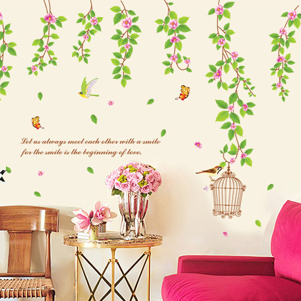 Fresh leafy vine wall stickers home decor painting birds warm green home wall stickers free shipping bb9084